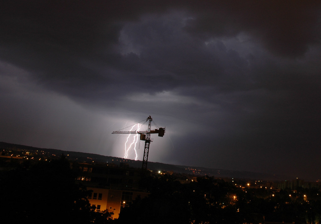 Lightning On Crane My First Lightning Photo Taken From My Sylvain L Flickr