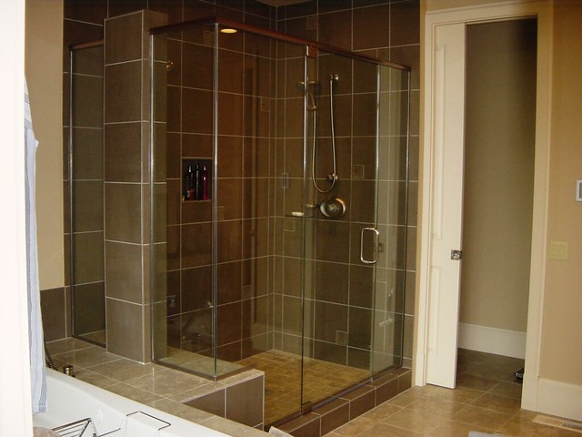 Custom Frameless Corner Shower Enclosure - Header & Pivot … | Flickr