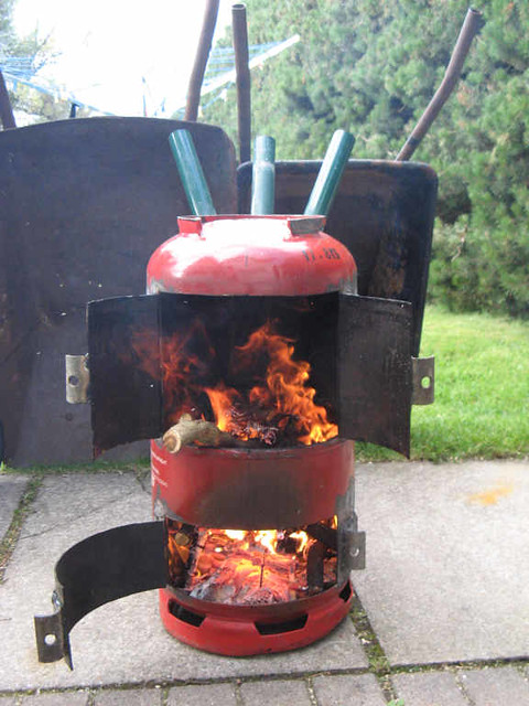 Homemade patio woodburner | Despite the high winds we ...