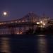 Bay Bridge bypass: Moonrise behind Bay Bridge