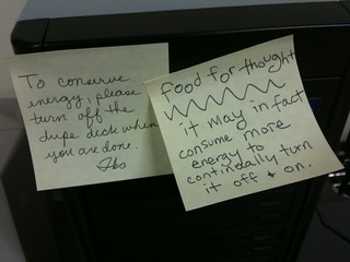 How bout...to conserve energy, please cut down on Post-it note usage? | by passiveaggressivenotes