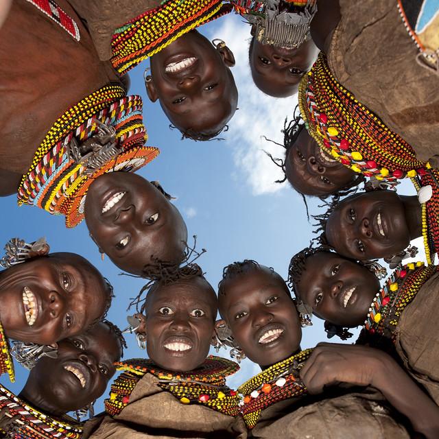 Turkana tribe girls, Kenya | Taken with a ringflash Canon ... 9 Photos