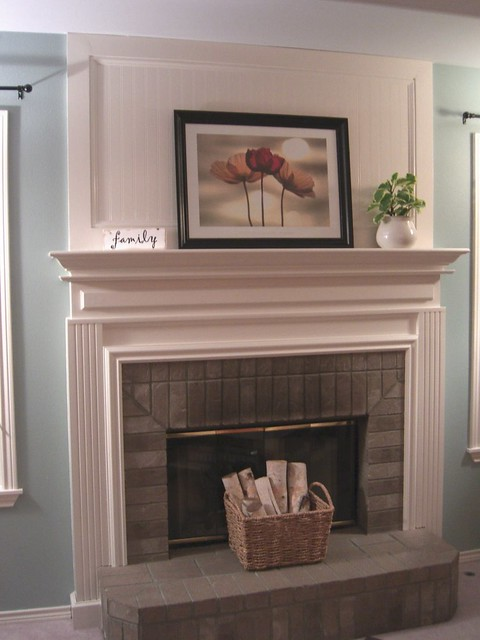 Family room fireplace makeover we tore down the existing - How to cover brick fireplace ...