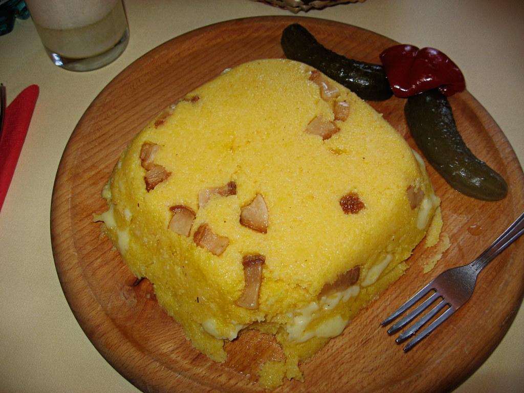 mamaliga mamaliga with cheese quotbaconquot and pickles at