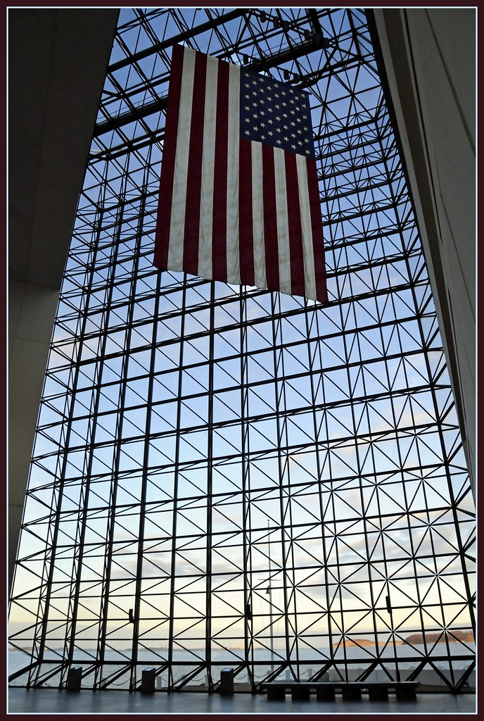 Us Flag Kennedy Library Boston A Huge Flag Hanging