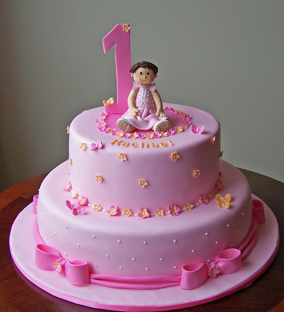 Fondant Cake Ideas For First Birthday : First birthday cake for Rachael Fondant covered cake and ...