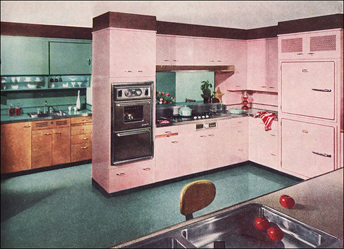 1955 st charles kitchen in pink turquoise flickr for Kitchen cabinets 50 style