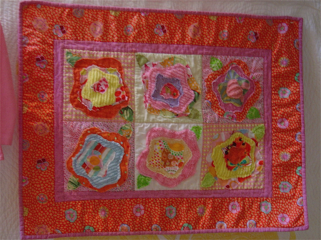 French rose pattern baby quilt, baby quilt of 6 French ros? Flickr