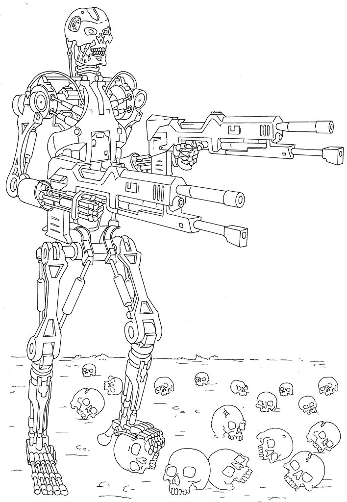 Line Drawings From D Models : Terminator line drawing colouring sheet for jake flickr