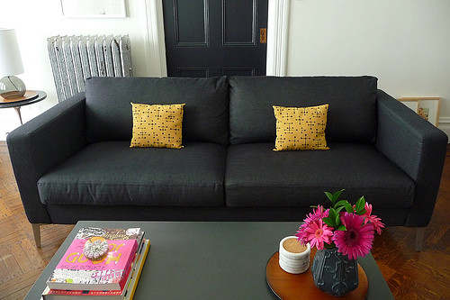 ikea karlstad sofa with sivik dark gray slipcover and alum flickr. Black Bedroom Furniture Sets. Home Design Ideas