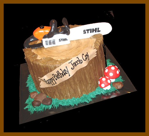 Stihl chainsaw cake for Jacob Coy | atasteofwhimsy | Flickr