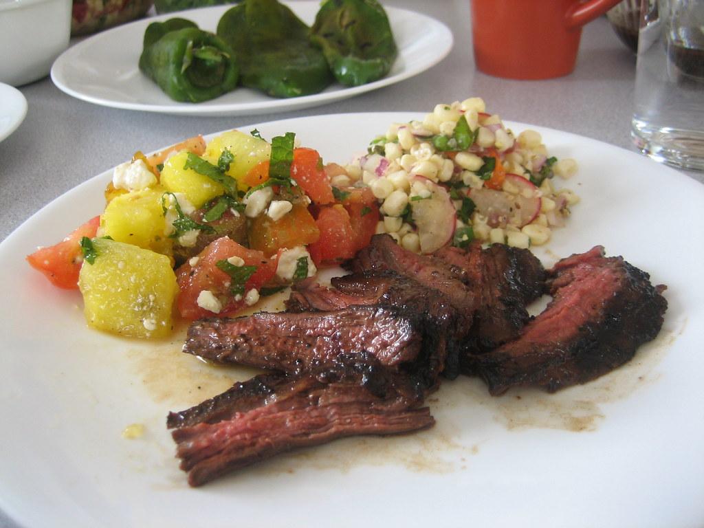 Grilled Skirt Steak, Watermelon Tomato Salad, Corn Salad ...