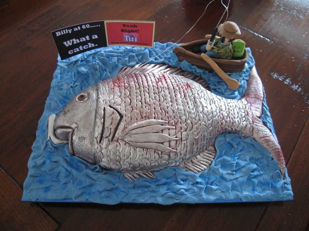 The big catch fish cake 60th birthday cake chocolate for Fish cake design