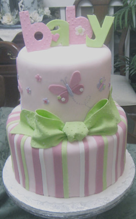 butterflies and stripes baby shower cake based on the plat