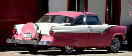Classic pink and white striped automobile, Williams, Arizona, United States of America