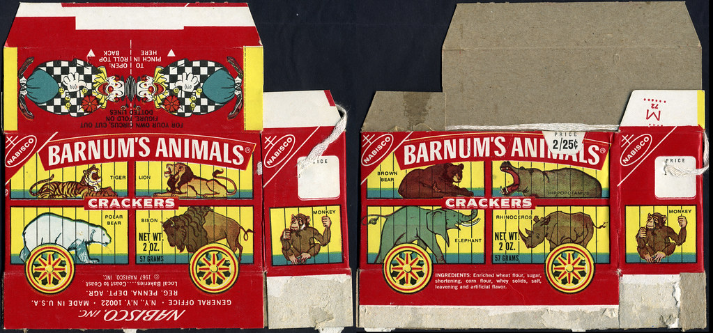 Nabisco - Barnum's Animals Crackers - Clown lid - cookie box - 1970's...