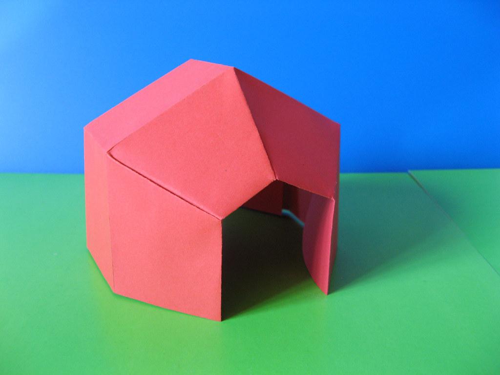 tenda tent tecnica origami con foglio unico quadrato