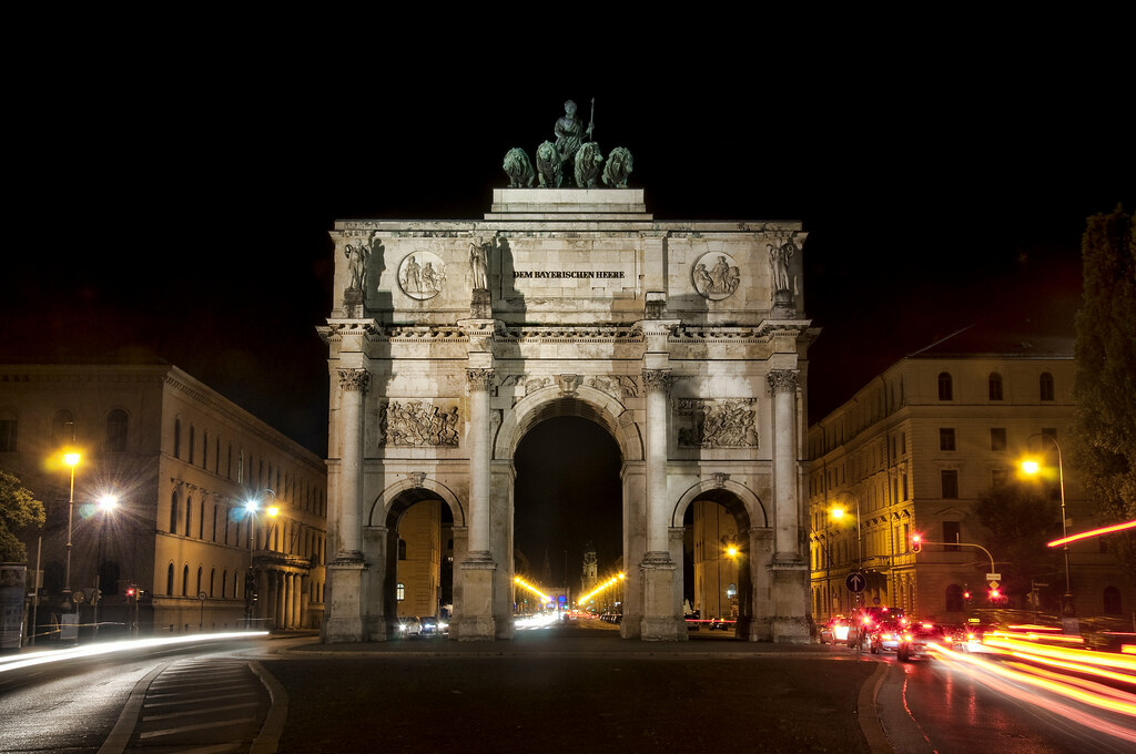 Siegestor In Munich At Night What The Champs Elysees And