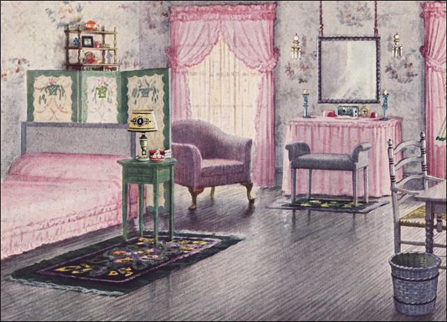 1925 mauve gray bedroom by armstrong cork co source ho flickr. Black Bedroom Furniture Sets. Home Design Ideas