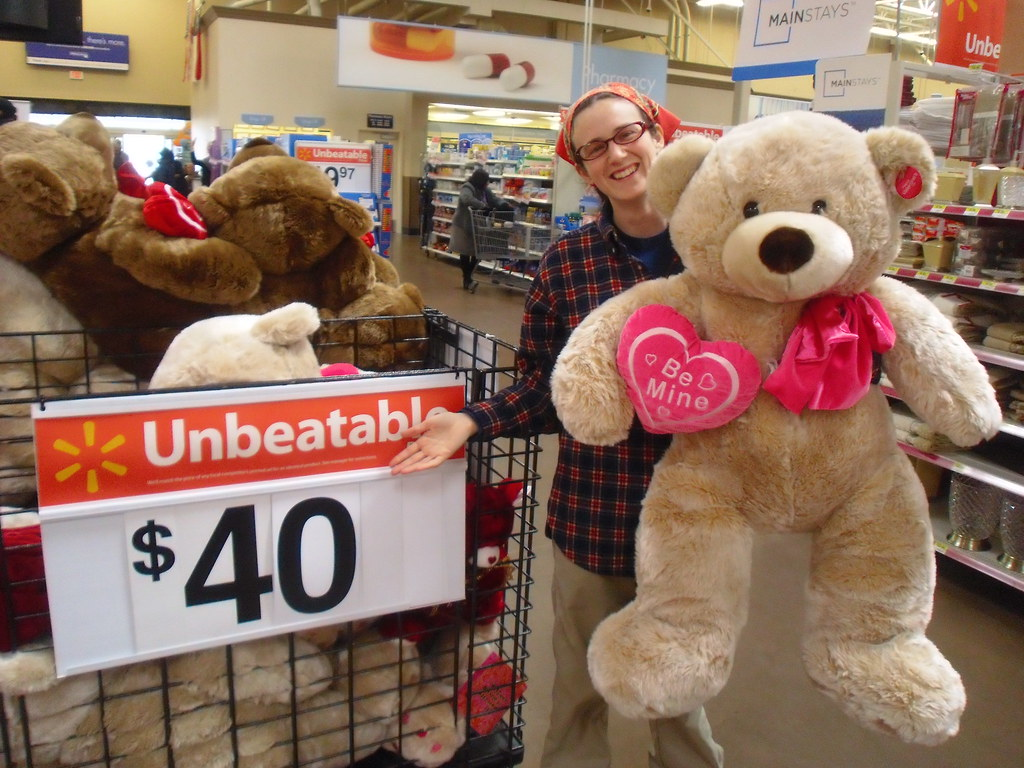 Giant valentines day teddy bear