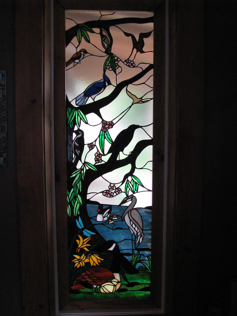 Stained Glass River Willow And Bird Sidelight Sidelight