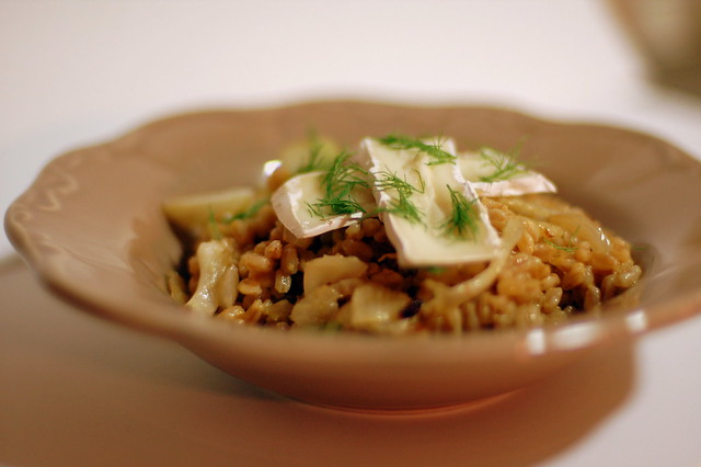 Fennel and blood orange farro risotto with baby brie-1 ...