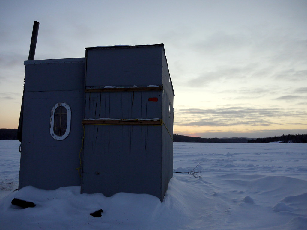 Ice fishing hut and sunset whitney ontario algonquin for Pa ice fishing