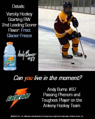 Andy Burns Gatorade Magazine Ad | Hockey Gatorade magazine ...