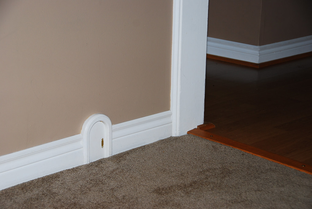 Mouse door in baseboard gillian flickr for Baseboard and door trim