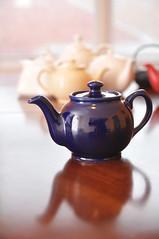 white tara tea company - dark blue teapot