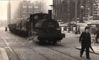 """Mind how you go!"" Liverpool dock railway engine c 1960s 