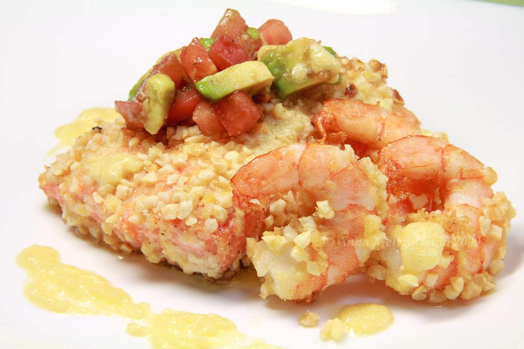 Almond Crusted Salmon and Prawns with Tomato Avocado Salsa… | Flickr