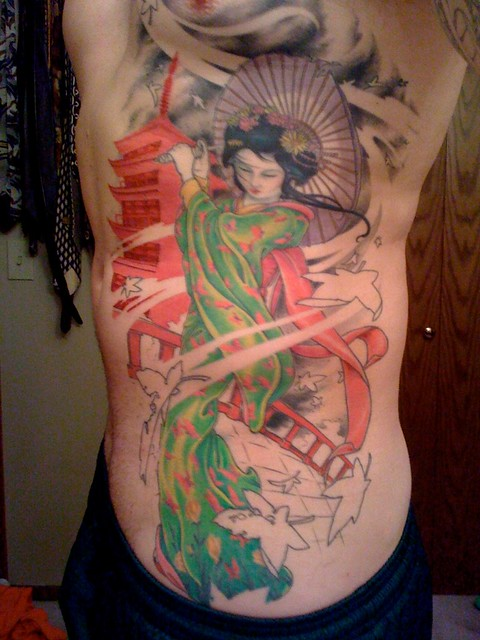 Geisha Tatto Latest Side Work Really Painful This Time