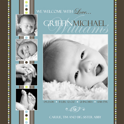 Baby Birth Announcement Photoshop Templates Volume 1 – Birth Announcement Photoshop Template