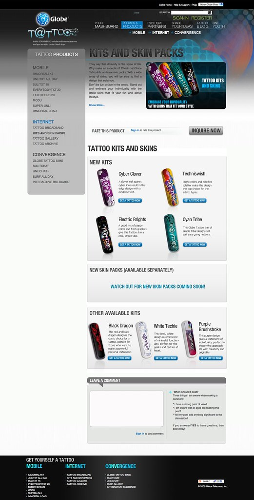 Globe tattoo internet kits to spice up your life globe for Globe tattoo internet load