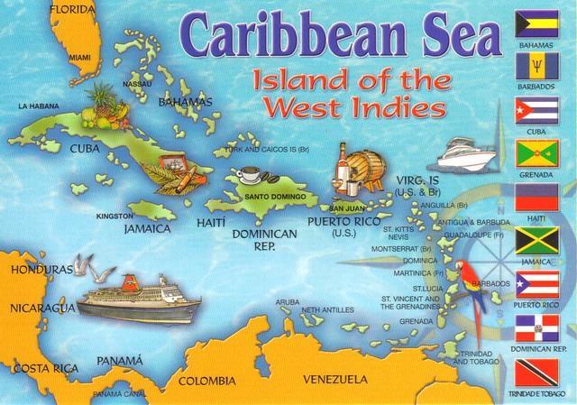 Map Of Caribbean Sea Black - Caribbean sea map
