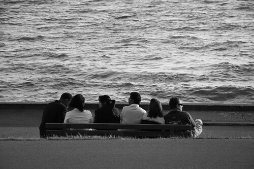 ... Together | A group of friends crowd a bench at Engli… | Flickr Crowd