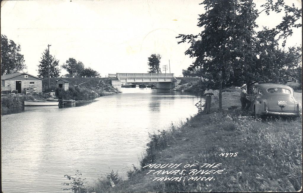 Tawas Mi Rppc Tawas River Bridge And River Mouth At Lake H