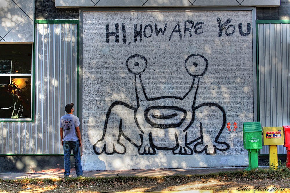 Hi how are you daniel johnston mural of jeremiah the for Daniel johnston mural austin