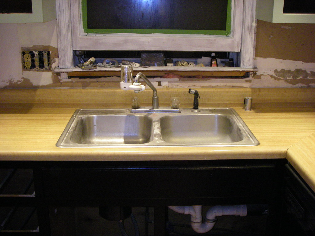 Laminate Countertops Company : new sink!, old countertops - faux butcher block laminate Flickr