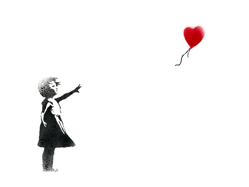 balloon girl by banksy via images on. Black Bedroom Furniture Sets. Home Design Ideas