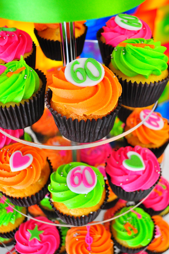 Cupcake Decorating Ideas For 60th Birthday : 70 s Themed 60th Birthday party White choc mud and ...