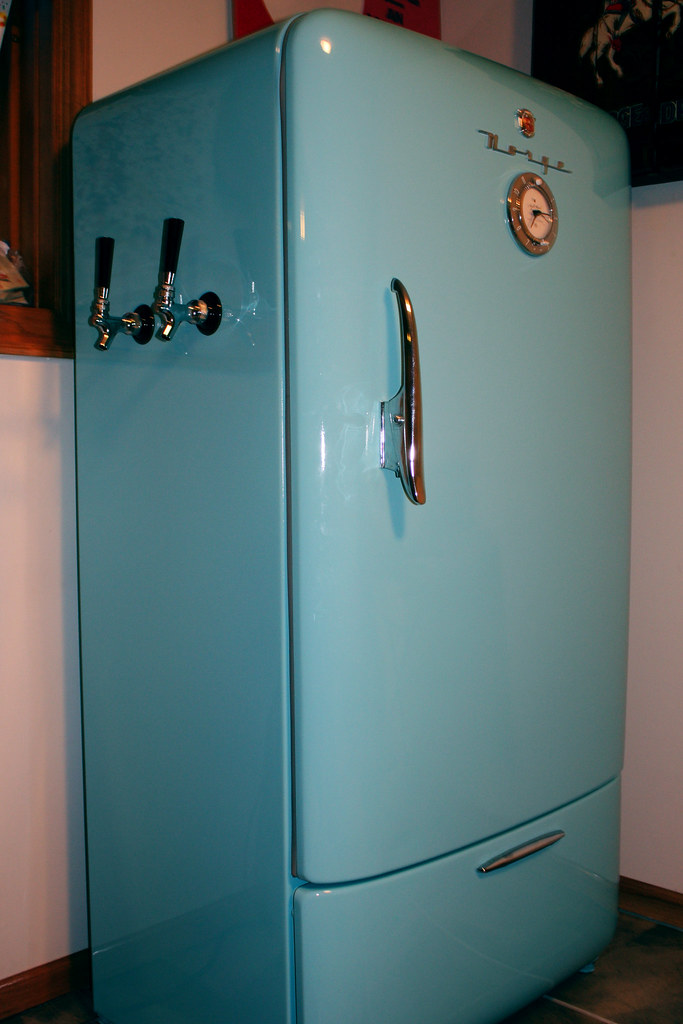 Keg Fridge Here Our Old Restored Norge Fridge Is Now A