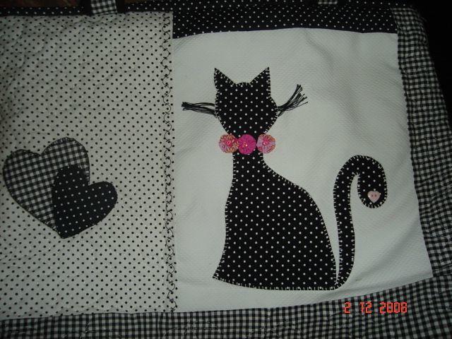 Bolsa De Mão Preta E Branca : Bolsa de gato branca e preta quiltado a m?o