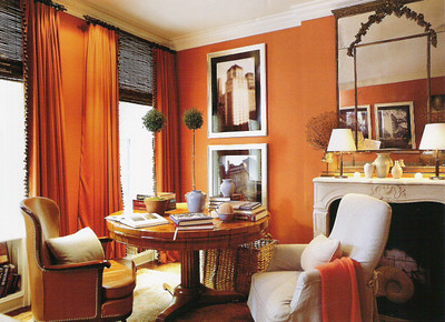 Orange room white accents by jeffrey bilhuber blogged Orange and red living room design