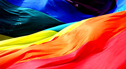 Pride flag fabric closeup