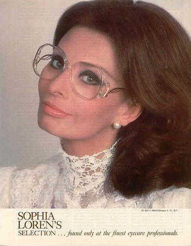 Sophia Loren Wearing Drop Temples Sexy Vintage Glasses