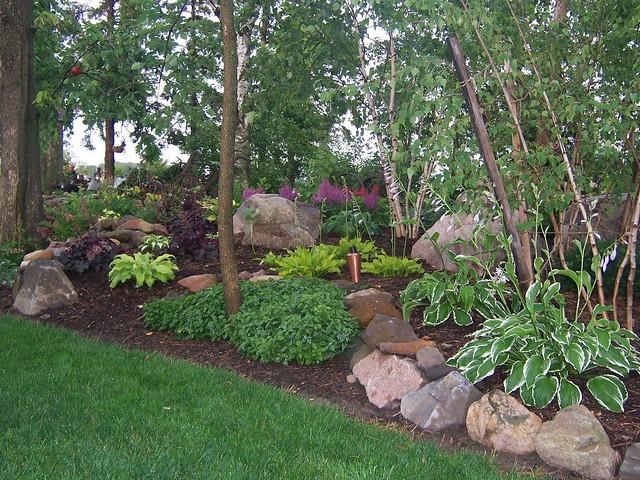 100 1689 Shade Garden Landscape Design Hosta Astble Heuchera Gardens Landscaping Rock