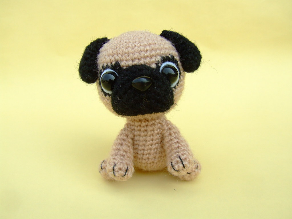 Knitting Pattern For Pug Hat : Pug Puppy They are just 4 inches tall in sitting position ? Flickr