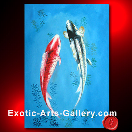 Koi fish painting 7 abstract art oil painting feng for Exotic koi fish